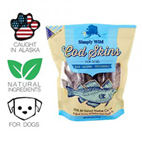 Simply Wild 100% All Natural Alaskan Cod Skins Tasty Training Treats For Dogs